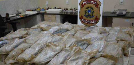 De acordo com a PF, esta foi uma das maiores apreensões da droga no Estado. / Foto: Divulgação/Polícia Federal