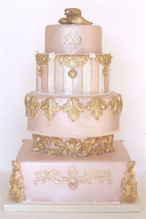 Pink, Pearl & Gold Wedding Cake     Cake Decorating