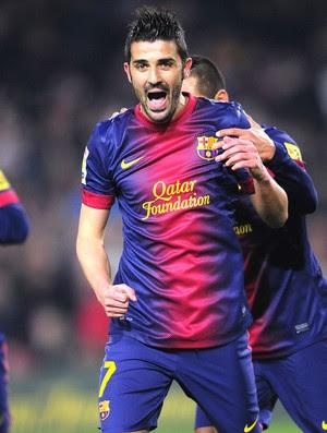 David Villa comemora gol do Barcelona contra o Cordoba, AP (Foto: Agência AP)