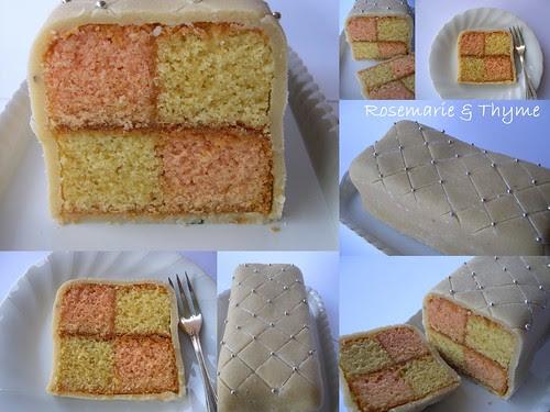 Battenberg cake collage