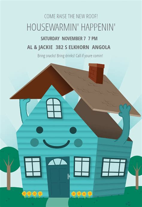 Happy Home   Housewarming Invitation Template (Free