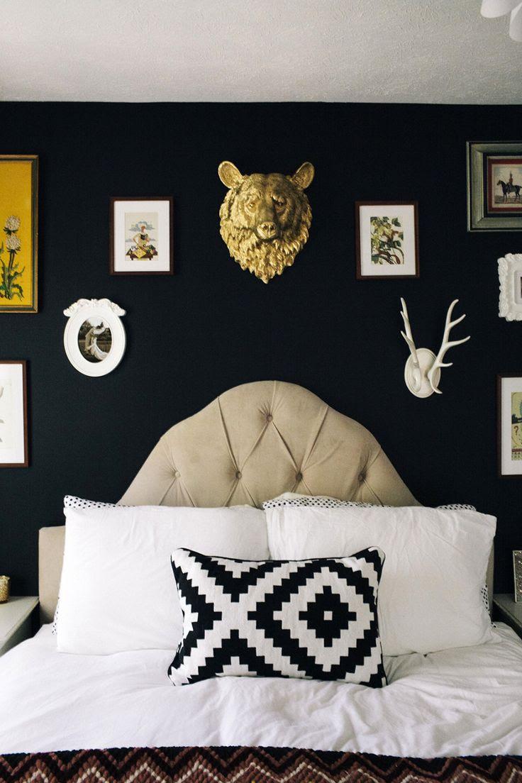 A black bedroom.