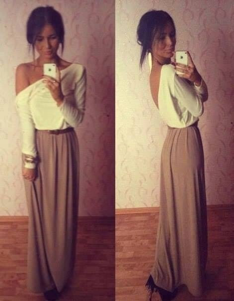 Long skirt long sleeves | Download the app for the fashionista on the go at http://app.stylekick.com