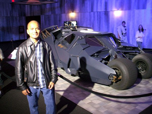 Posing with the Tumbler from BATMAN BEGINS and THE DARK KNIGHT, on December 7, 2012.