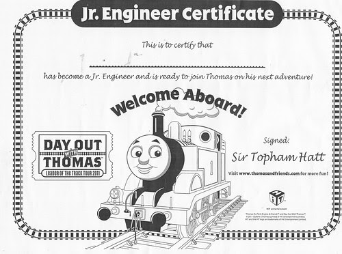 Day Out With Thomas Jr. Engineer Certificate