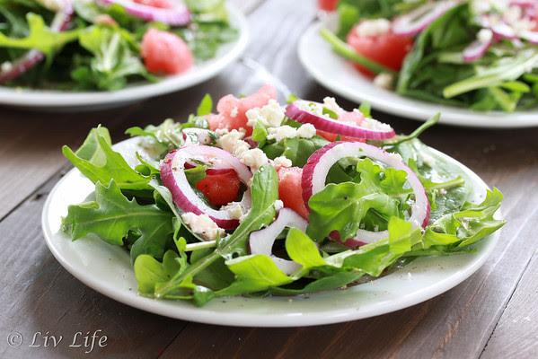 Arugula Salad with Watermelon Vinaigrette