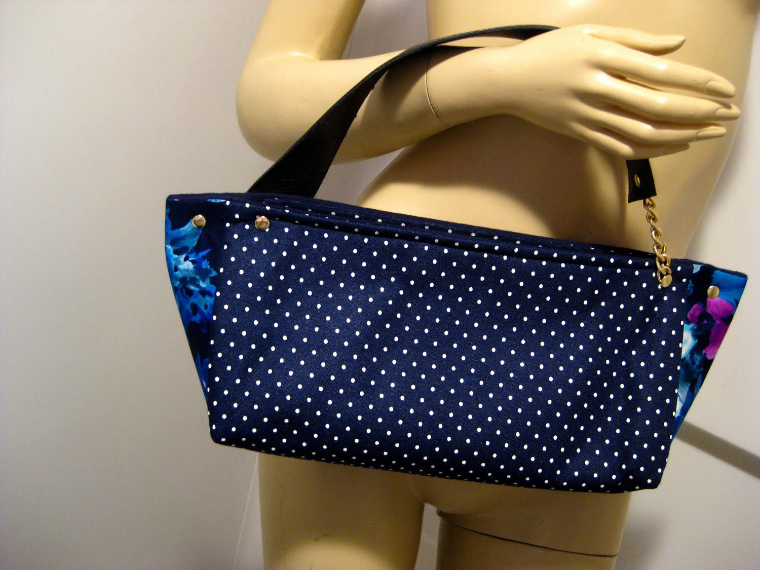 """Upcycled Polka Dot and Floral Polyester """"D"""" Top Handle Bag"""