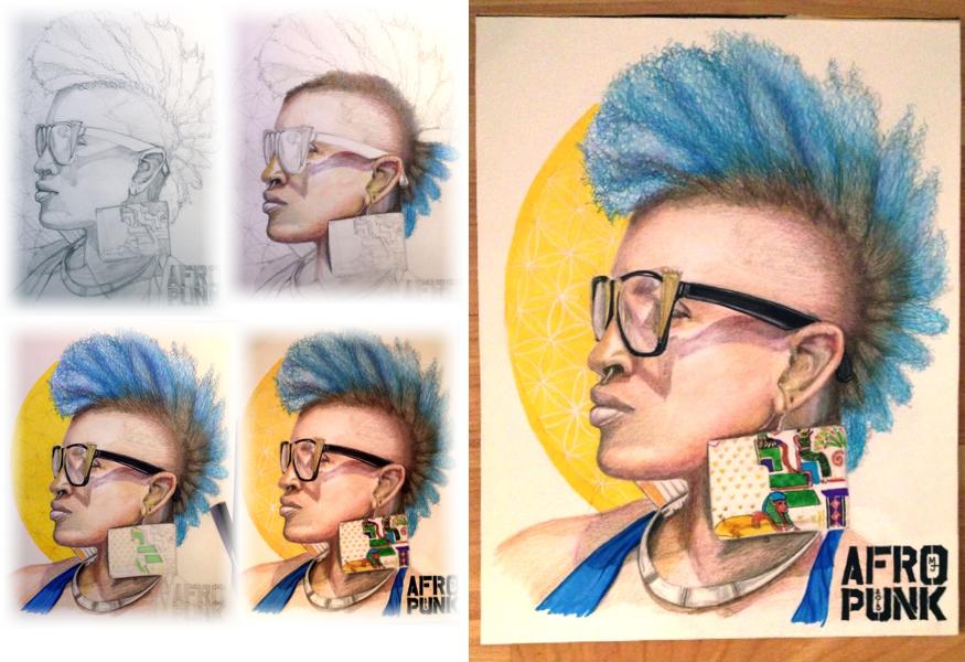 Portrait by MJ, Fashion, Afro, Afro Punk, Illustration, portrait