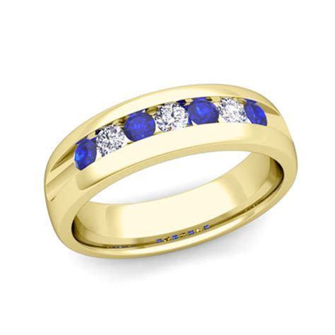 Mens Wedding Band in 18k Gold Channel Set Diamond Sapphire