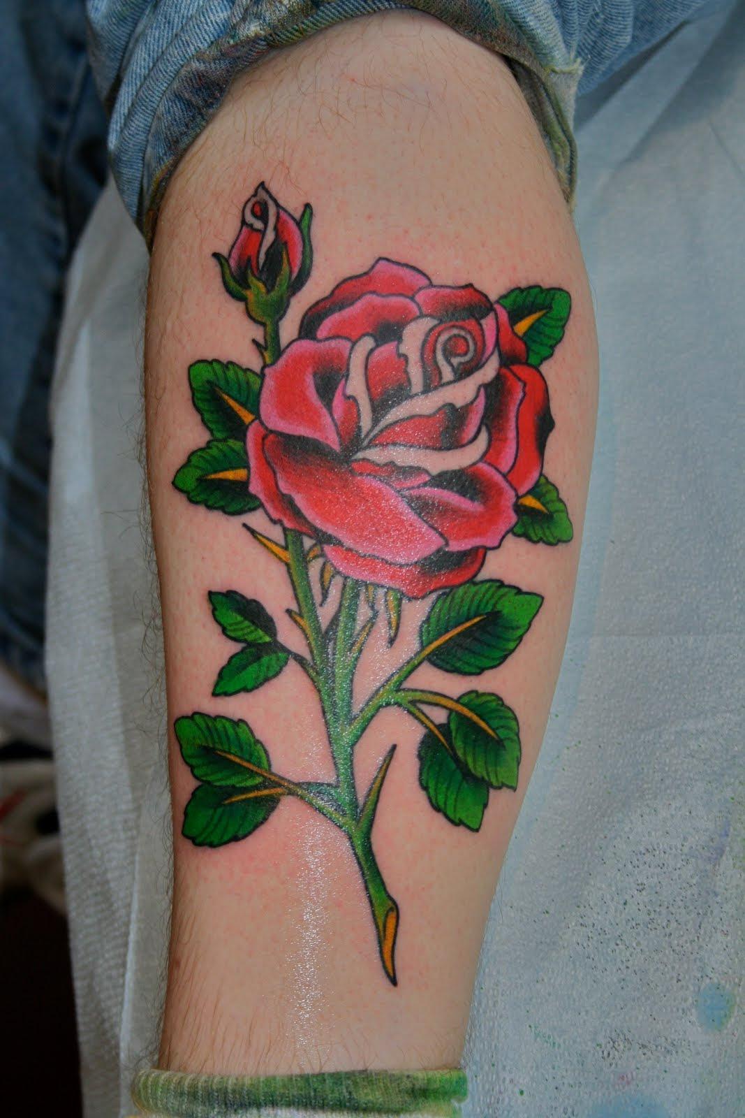 Rose Leg Tattoos Designs