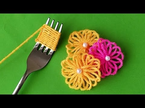 Hand Embroidery Amazing Trick   Easy Woolen Flower with Fork