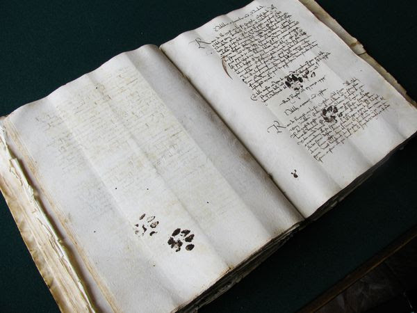 Inky paw prints on a 15th century manuscript.