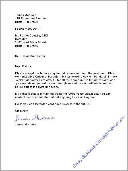 Resignation Letter On Pinterest Letter Of Resignation