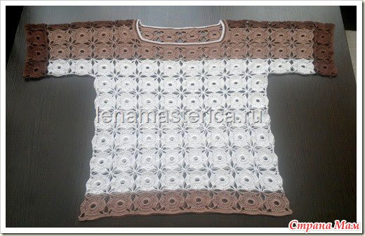 Blouses with round motifs unseparated knitting method.  Online.