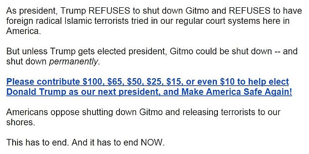The Gitmo debate quickly turned political on Thursday as Donald Trump's presidential campaign tried to raise money with aggressive messaging about Biden's admission