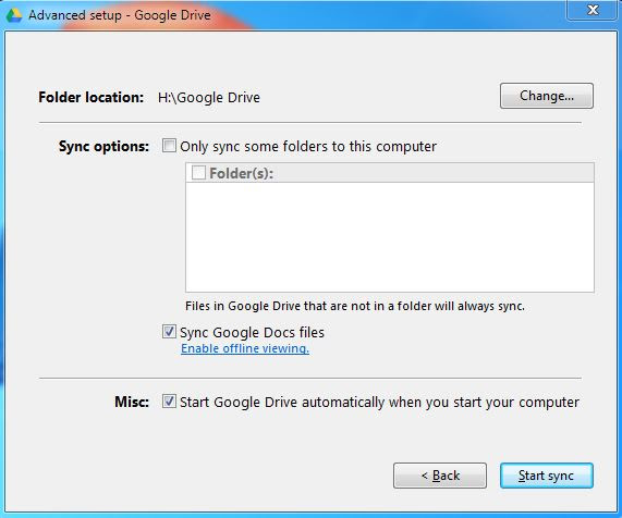 Advance Setup Google Drive