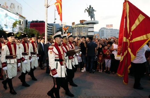 Members of the Macedonian ceremonial guard carry the casket with the Declaration of Independence in Skopje