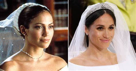 Meghan Markle dress compared to Jennifer Lopez Wedding