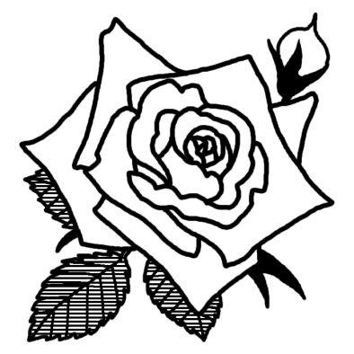 バラ5バラ薔薇2花無料白黒イラスト素材