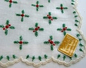 Holiday Hankie, Christmas Hankie, Wedding Handkerchief, Embroidered NWT - VintagebyTeresa