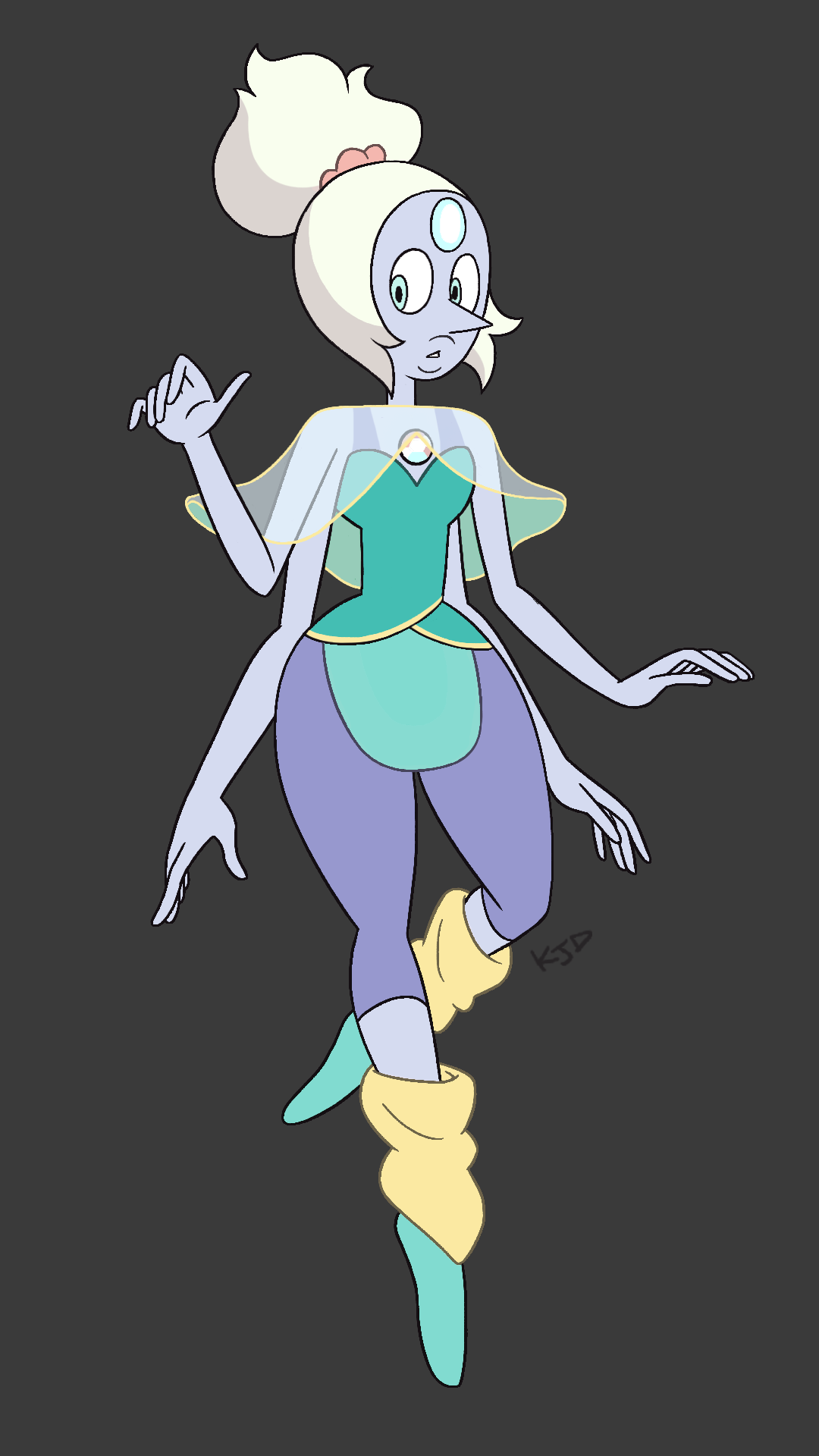 but I'm the stuff of happy endings old sketch of 80′s Opal I threw some colour on I have ones for the other CG fusions but I don't know if I'll bother colouring them… and yes that's a scrunchie