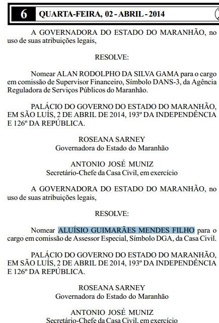 Secretário Aluísio Mendes nomeação