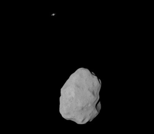 An image of asteroid Lutetia, with Saturn in the background, that was taken by ESA's Rosetta spacecraft on July 10, 2010.