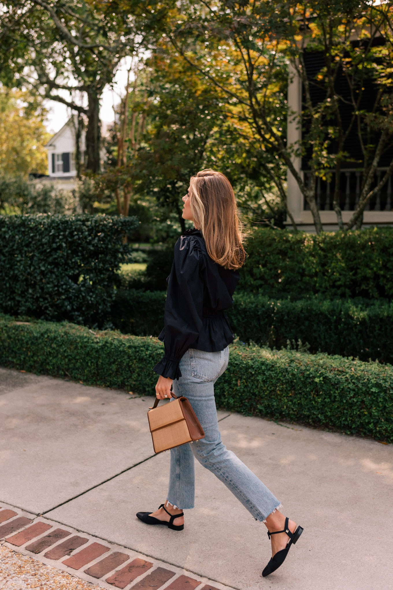 black blouse light denim