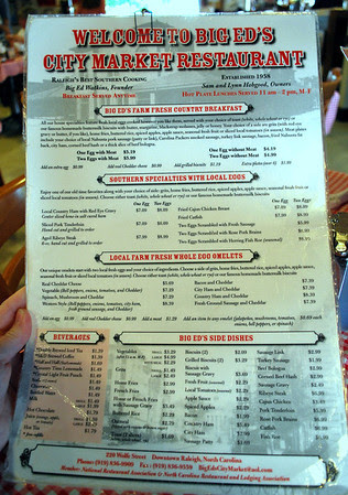 The front of the menu at Big Ed's