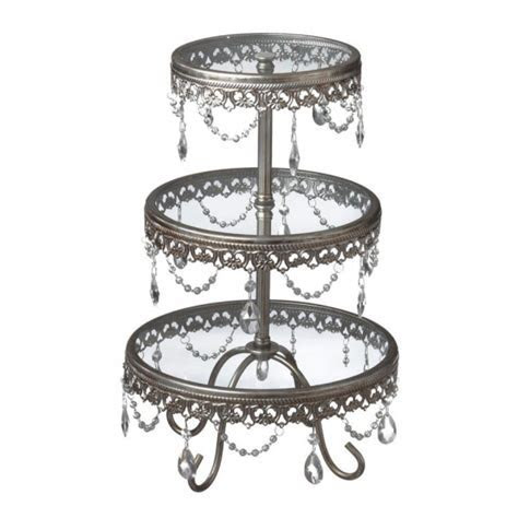 Antique Silver Three Tier Cake Stand with Jewels [225