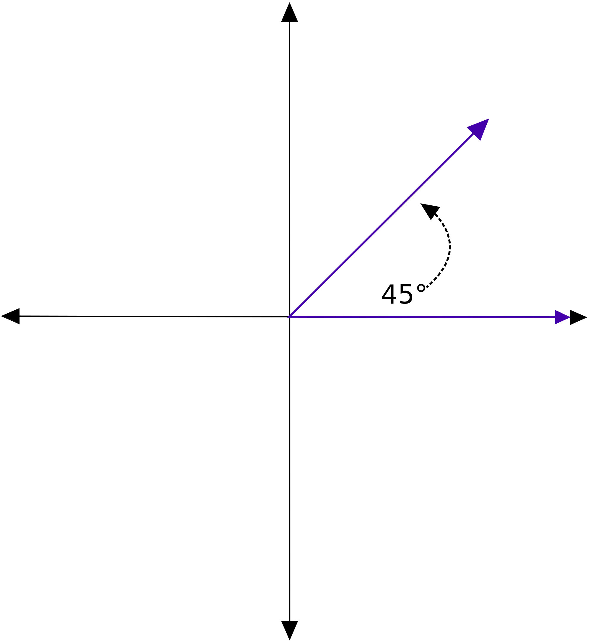 File:45 degree standard position.svg - Wikimedia Commons