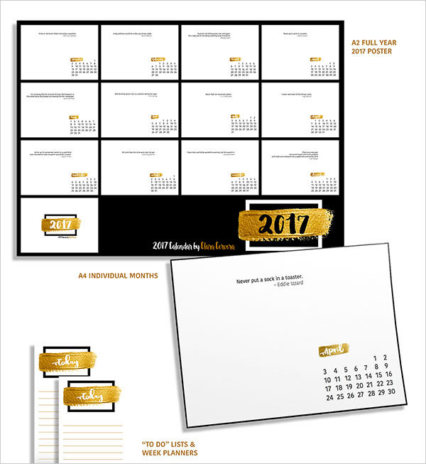 25 Best New Year 2017 Wall Desk Calendar Designs For Inspiration