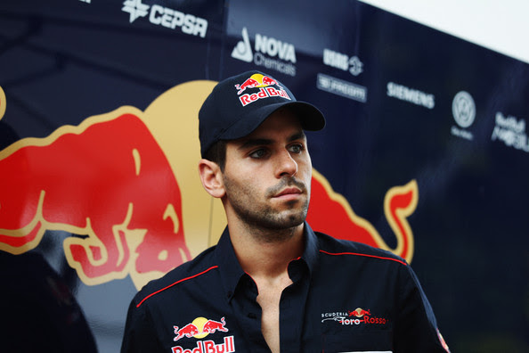 Jaime Alguersuari Jaime Alguersuari of Spain and Scuderia Toro Rosso talks with the media during previews to the Singapore Formula One Grand Prix at the Marina Bay Street Circuit on September 22, 2011 in Singapore.