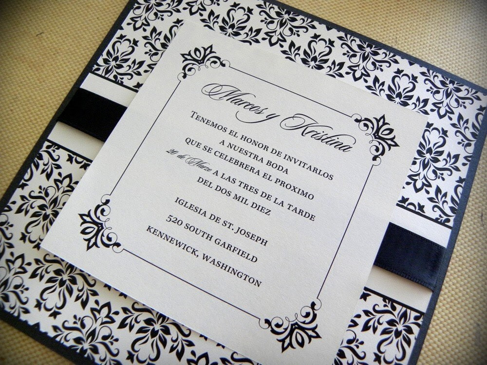 Shimmery Damask Square Layered Wedding Invitation Suite Black and Ivory