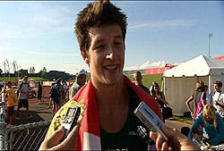 Matthew Caseley speaks to the CBC after his golden performance in the hammer throw event Tuesday at the Canada Games.