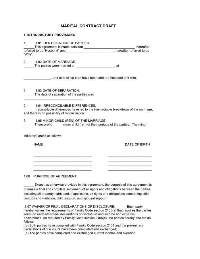 Marriage Contract Template Pdf Template