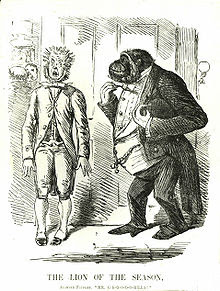 A servant in Victorian livery stands awkwardly at an open door, his mouth open and hair standing on end, as a gorilla wearing a white tie full dress tailcoat enters.