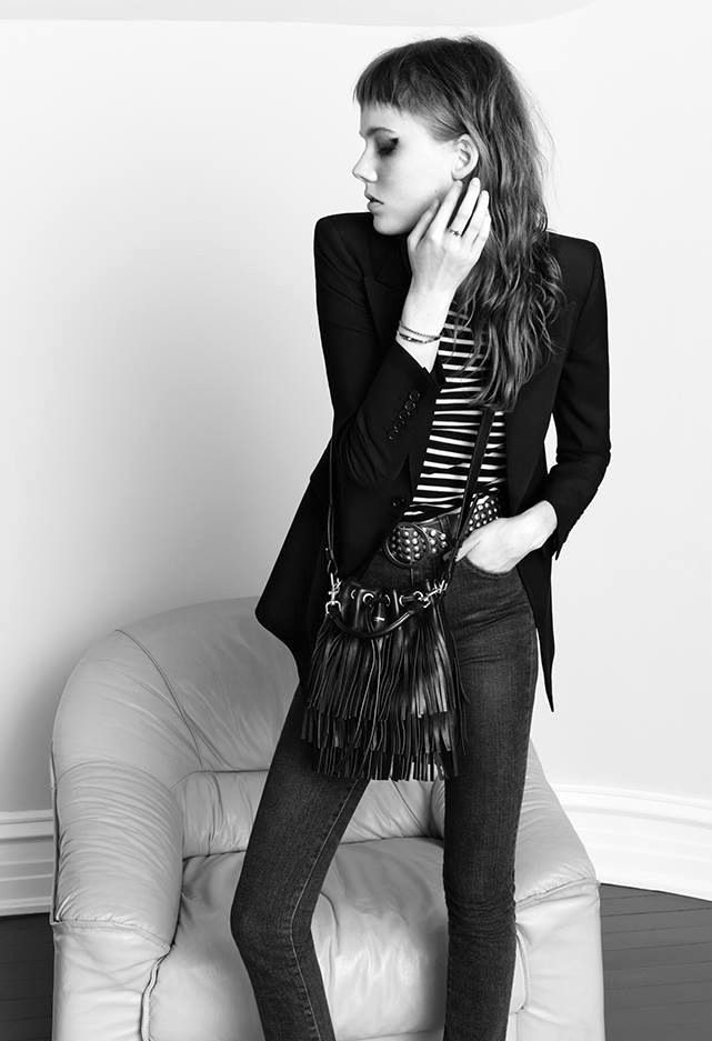 Le Fashion Blog Saint Laurent SS 2015 Campaign Blazer Striped Top Studded Belt High Waisted Jeans Fringe Bucket Bag Roch Chic photo Le-Fashion-Blog-Saint-Laurent-SS-2015-Campaign-Blazer-Striped-Top-Studded-Belt-High-Waisted-Jeans-Fringe-Bucket-Bag-Roch-Chic.jpg