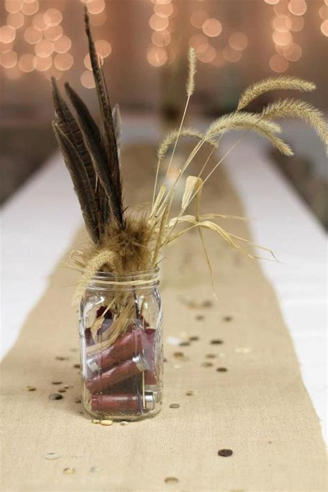 Easiest decoration ever! Feathers, weeds, & shotgun shells