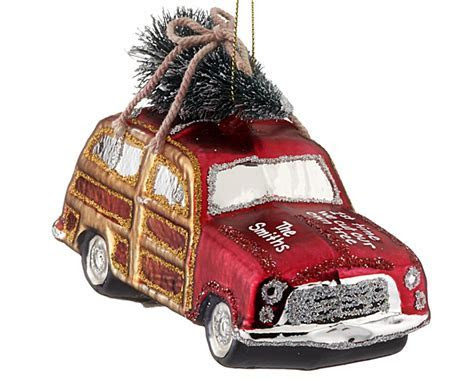 Woody Car with Tree   Personalized Christmas Ornament