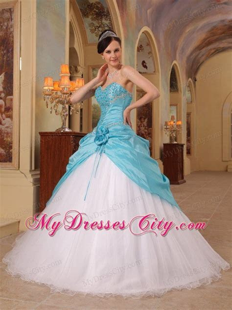 Aqua Blue and White Beading Sweetheart Princess