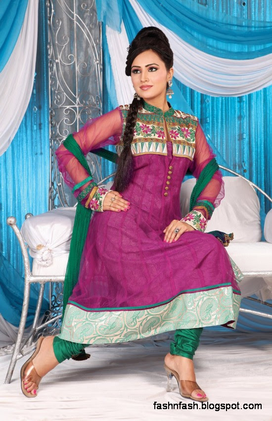 Anarkali Fancy Pishwas Frocks-Anarkali Double Shirt Style Frock New Fashion Dress Designs 2013-3