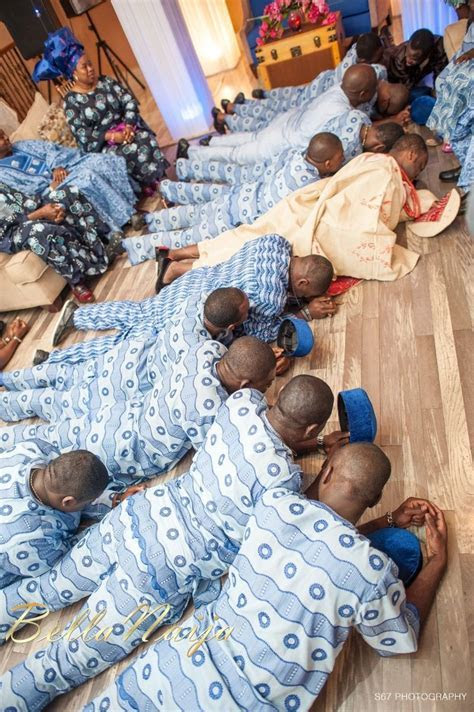 Yoruba tradition The groom and his friends v to prostrate