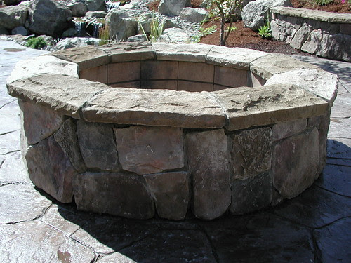 Cultured stone fire pit