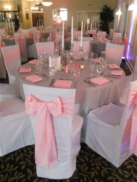 Pink Sashes   Pink and White Wedding #GraceBallroom #