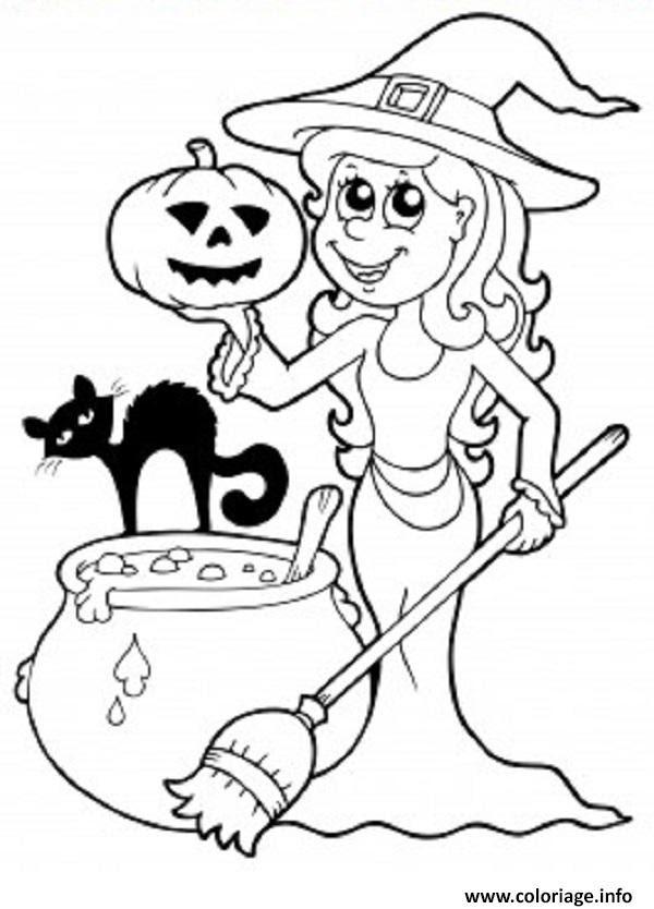 Coloriage Sorciere Halloween Chat Citrouille Jecoloriecom