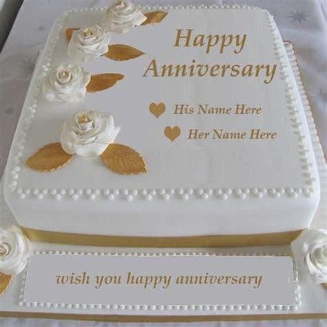 write name happy anniversary cake images.wedding