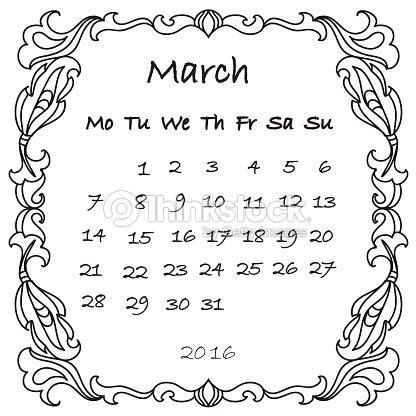 Calendario Marzo De 2016 Para Colorear Página Arte Vectorial