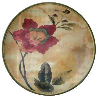 Antiqued Victorian Hibiscus Porcelain Plates