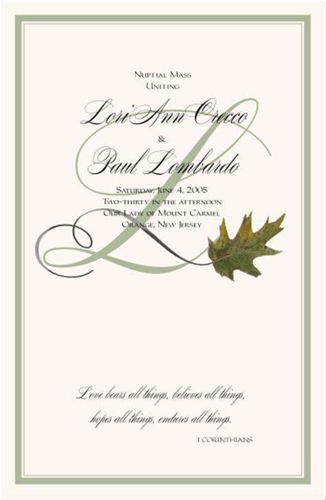 Autumn Oak Leaf Fall Wedding Program Autumn Theme Church